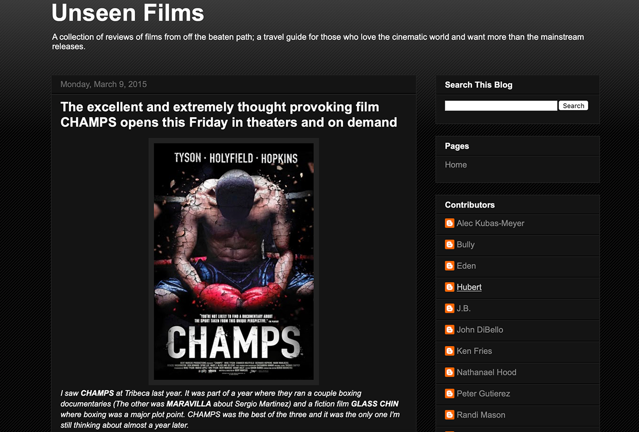 REVIEW: THE EXCELLENT AND EXTREMELY THOUGHT PROVOKING FILM CHAMPS