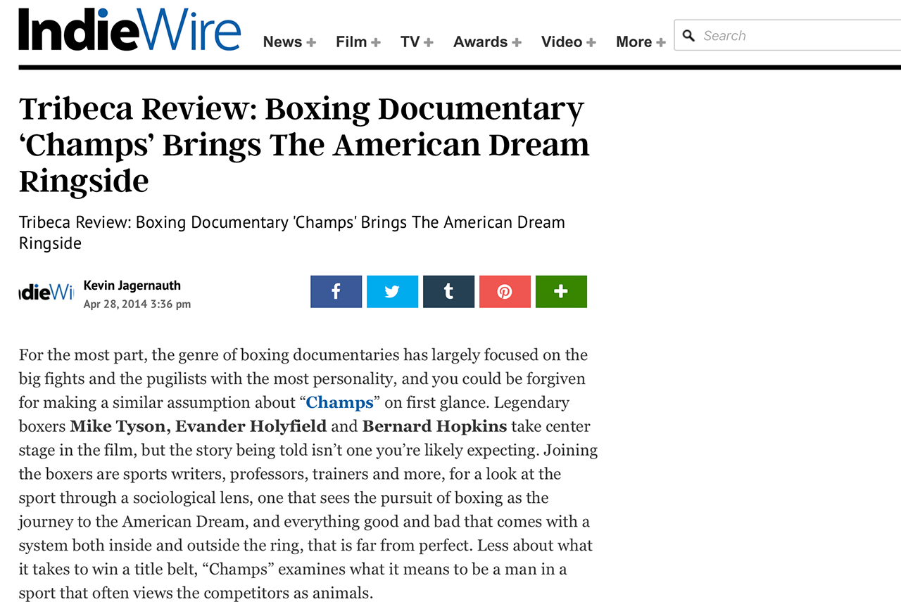 TRIBECA REVIEW: BOXING DOCUMENTARY 'CHAMPS' BRINGS THE AMERICAN DREAM RINGSIDE